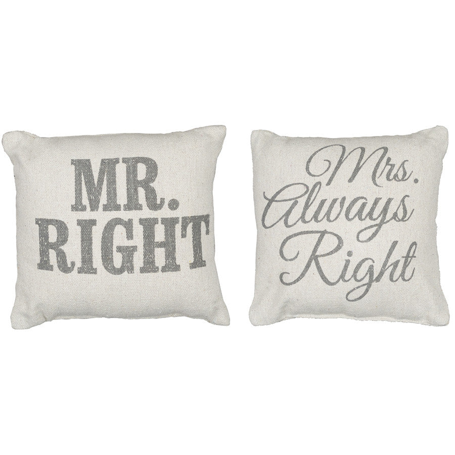 Rustic Mr Mrs Right Accent Pillows Posh365inc