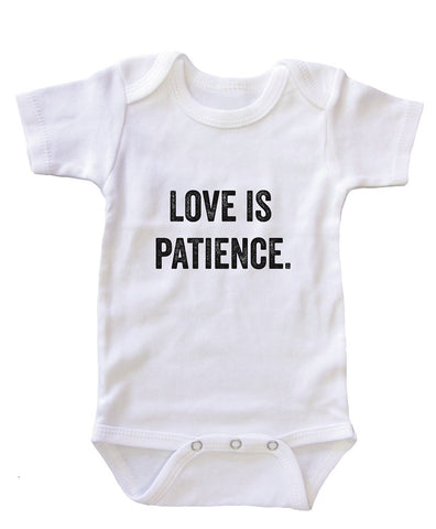 """Love is Patience"" Baby Onesie Bodysuit"