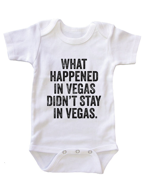 """What happened in Vegas"" Baby Onesie Bodysuit"