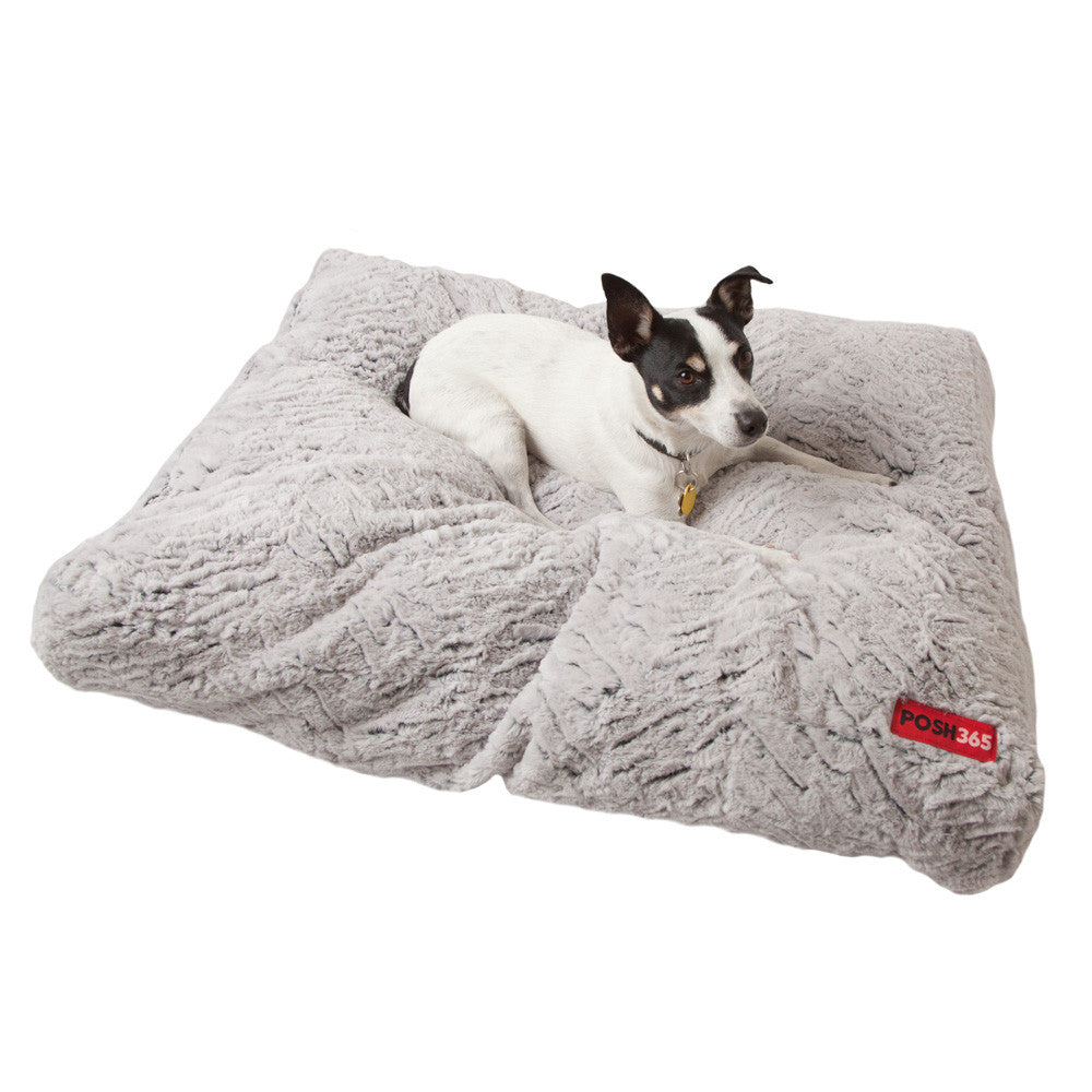 Eco-friendly Furry Gray Cushion Dog Bed