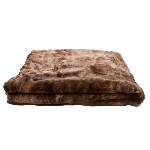 Luxury Brown Faux Fur Throw