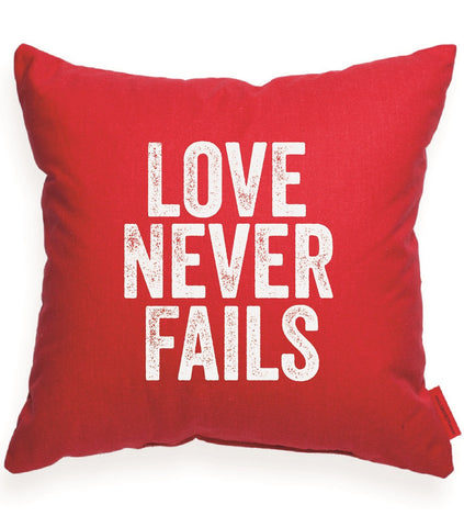 """Love Never Fails"" Decorative Throw Pillow"
