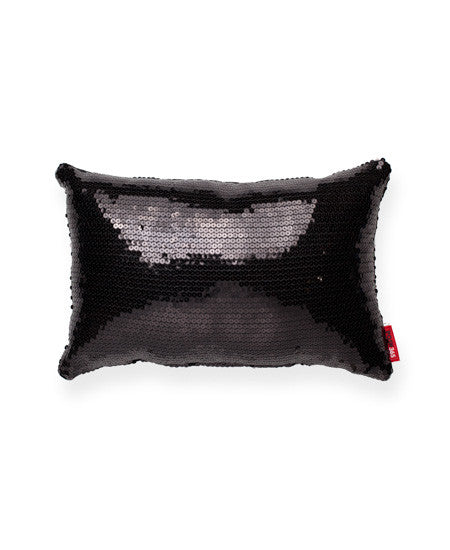 Decorative Black Square Full Sequin Small Throw Pillow