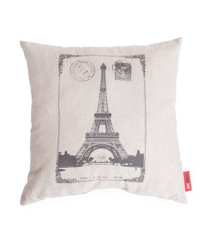 """Paris Stamped"" Decorative Linen Throw Pillow"