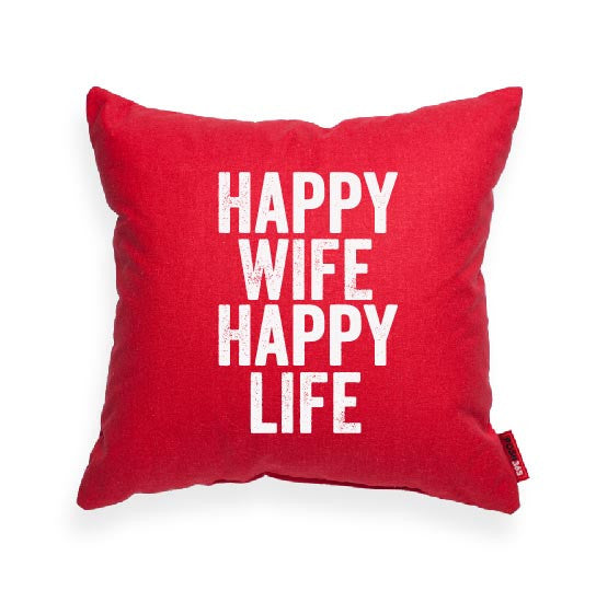 """Happy Wife Happy Life"" Decorative Throw Pillow"