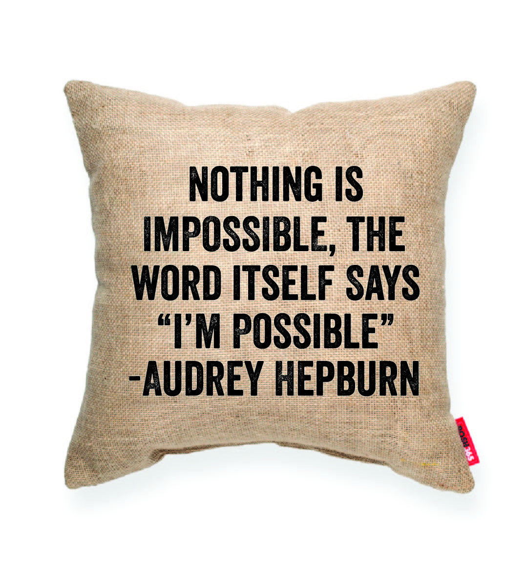 "Audrey Hepburn ""I'm Possible"" Decorative Throw Pillow"