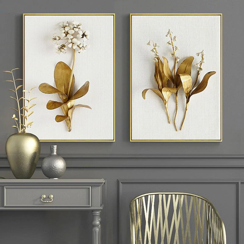 3d Golden Flowers Canvas Print Wall Art Decor