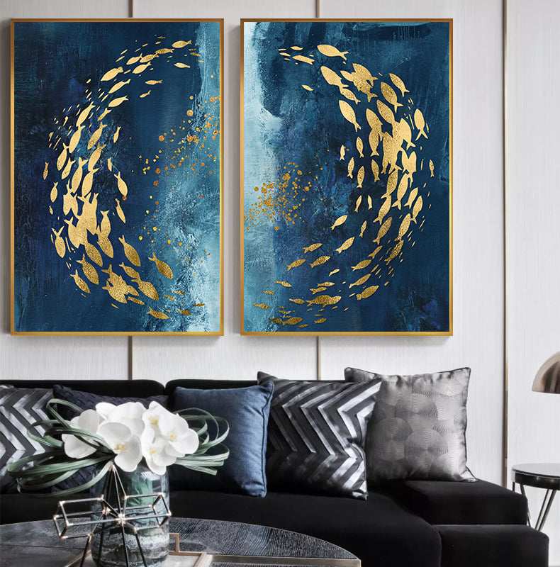 Gold Foil Fish Wall Canvas Print Decor