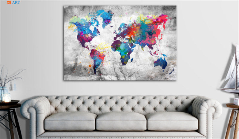 Watercolor World Map Canvas Print Wall Art decor