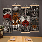 Japanese Samurai Scroll Painting Canvas Prints