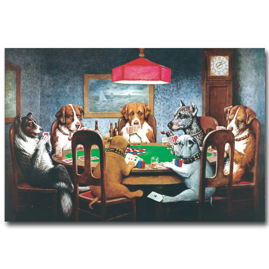 dogs playing poker canvas painting