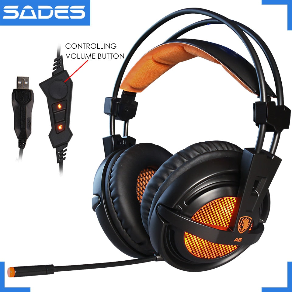 SADES A6 USB 7.1 Gaming Headphones (with Mic)
