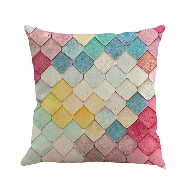 colorful geometric decorative pillow cover