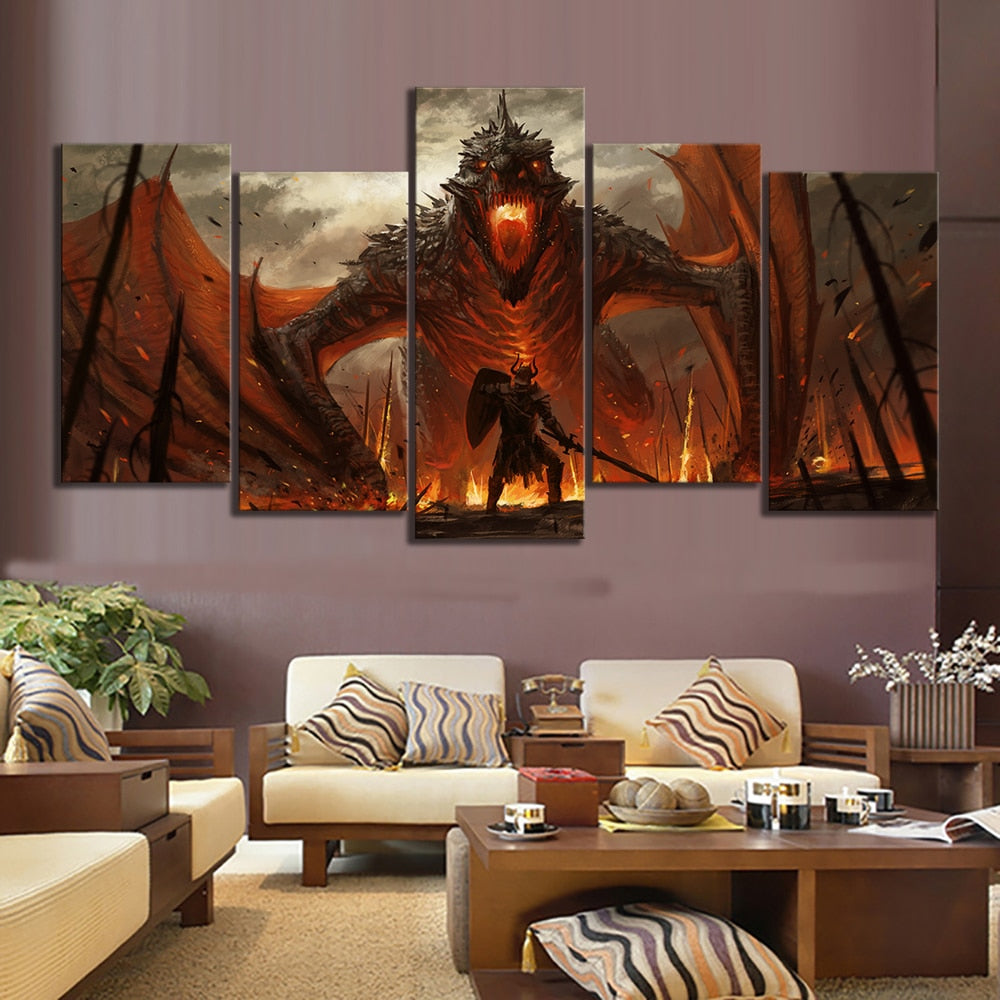 Game of Thrones Inspired Dragon Oil Painting Canvas Print