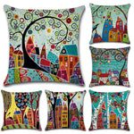 Hand-Painted Color Cities Linen Decorative Cushion Cover