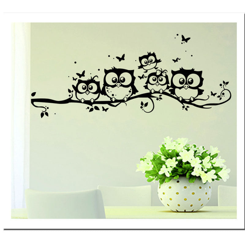 Cute 5 Owls On the Tree Wall Stickers