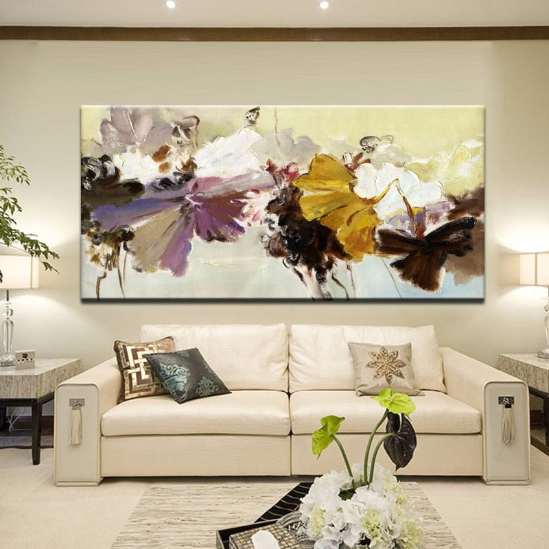 Hand Painted Flowers Wall Art