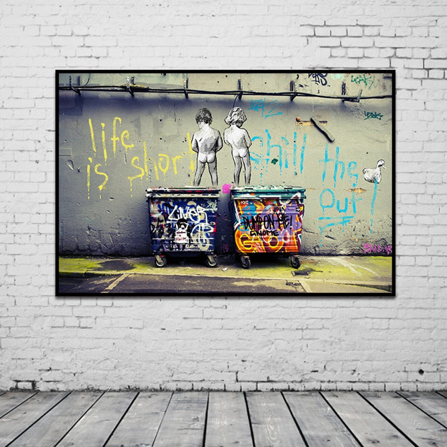 Banksy Graffiti wall art canvas print decor