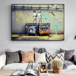 "Banksy ""Life Is Short Chill The Duck Out""  inspired Graffiti Canvas Print"