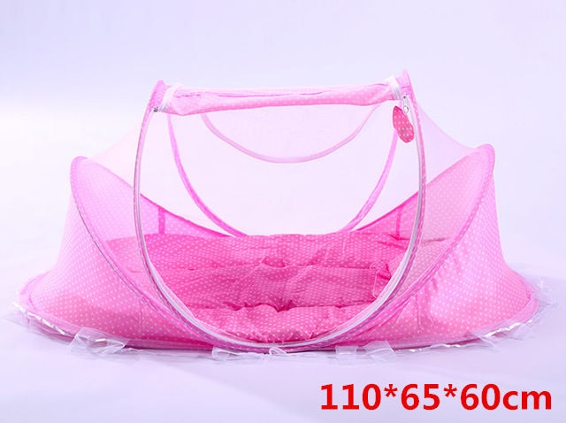 Folding Baby Crib with Protective Netting & Cushioning