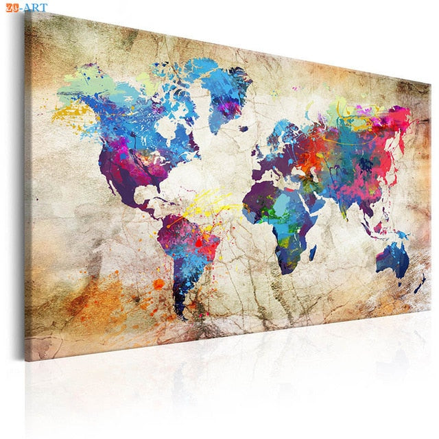 World Map In Color Wall Art