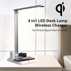 LED Desk Lamp Wireless Charger for Apple iPhone, Apple Watch, Airpods + Samsung & Qi Devices