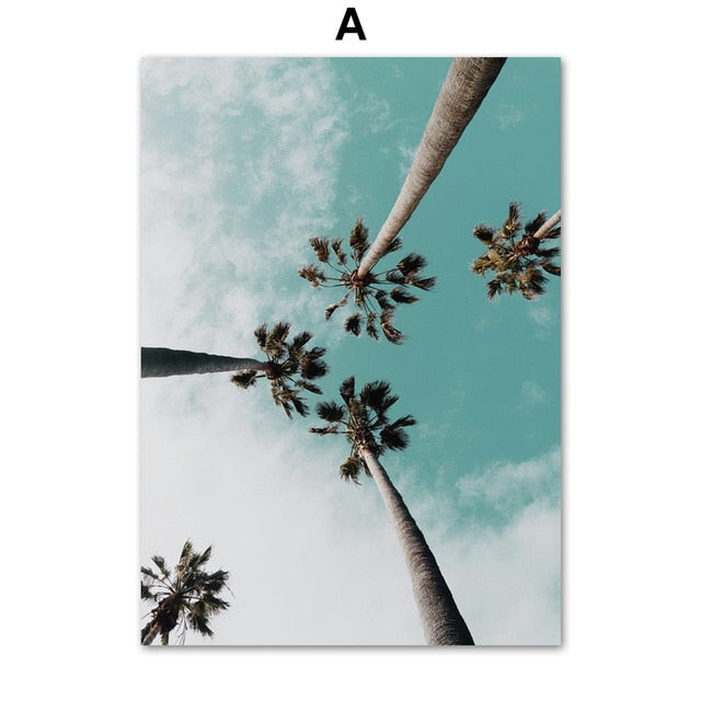 Miami Beach, Palms Trees, & Pink Hued Skyline Wall Art