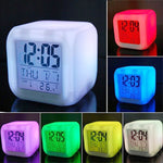 7 Color Digital LED Glowing Cube Alarm Clock