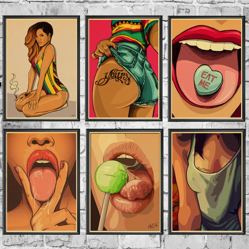 Vintage Sexy wall art animal comic raunchy decor canvas print