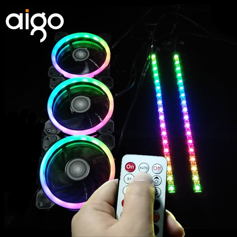 Aigo DR12 LED Case Fan, with Wireless Remote Control and Motherboard Light Strips