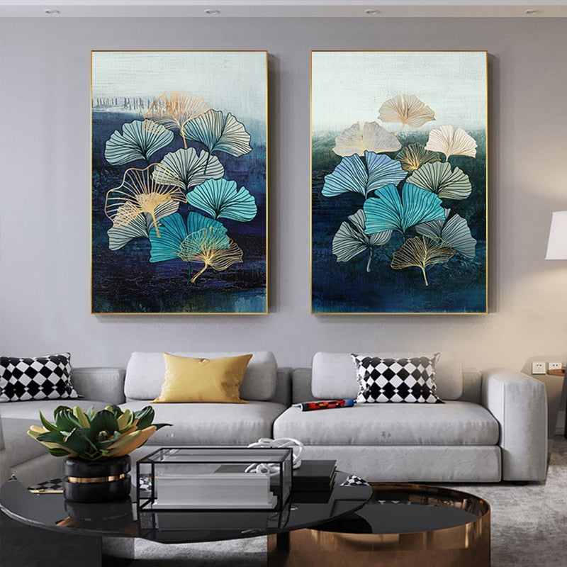 Nordic Blue Flowers Wall Art Decor