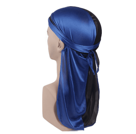 MIDNIGHT BLACK AND SAPPHIRE BLUE SILK DURAG - Durag Dealer