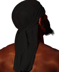 MIDNIGHT BLACK SILK DURAG