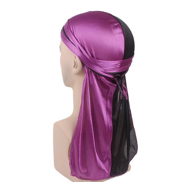 MIDNIGHT BLACK AND GRAPE PURPLE SILK DURAG - Durag Dealer