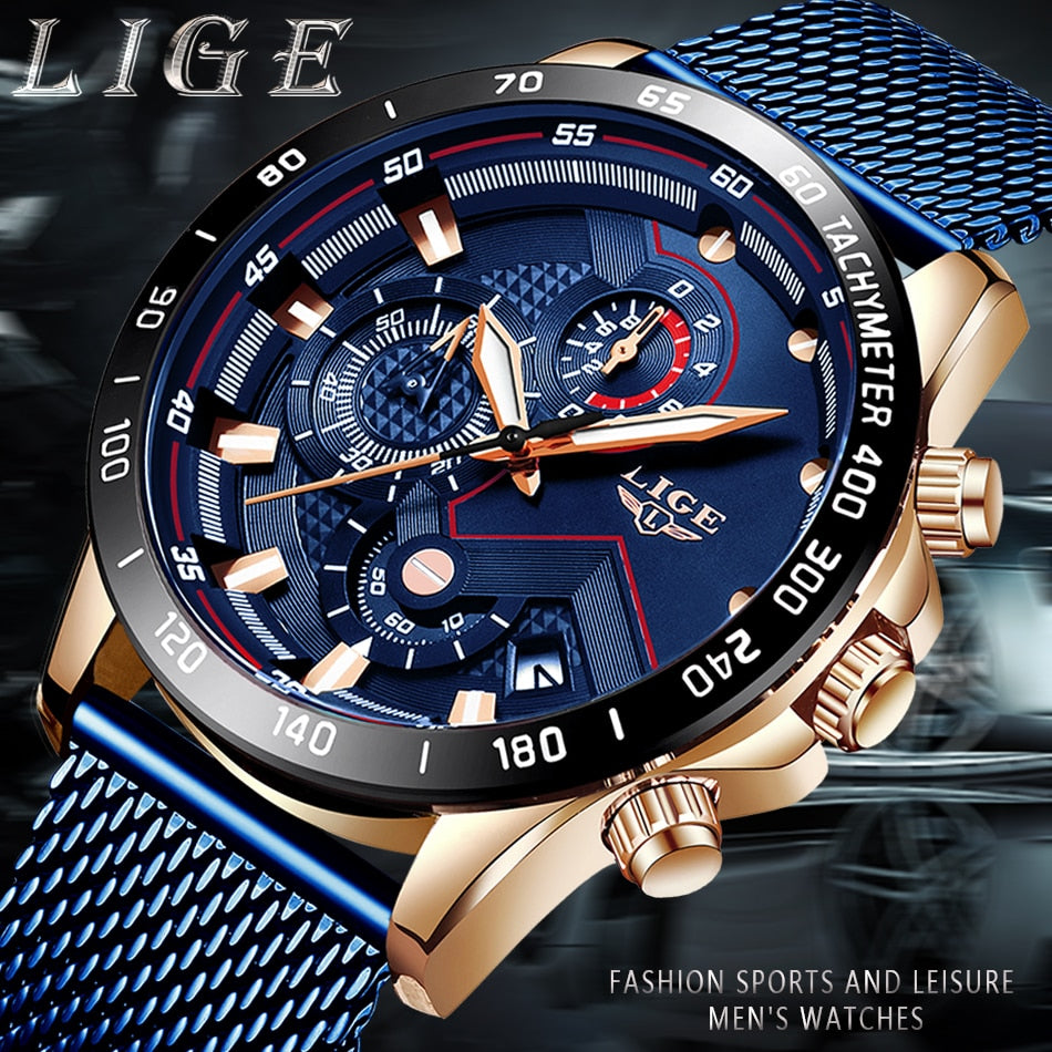 LIGE Luxury Stainless Steel Quartz Watch