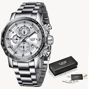 LIGE Mens Luxury Full Steel Quartz Watch Men