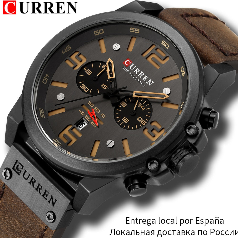 CURREN Mens Brown Genuine Leather Relogio Masculino