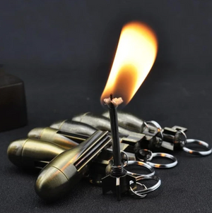 Outdoor Emergency Survival Camping Keychain Lighter Flint Metal Keychain Match Fire Starter Permanent Match(No Oil)