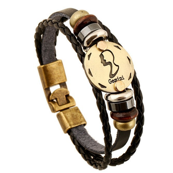 Zodiac Signs Black Gallstone Leather Bracelet - Florence Scovel - 10