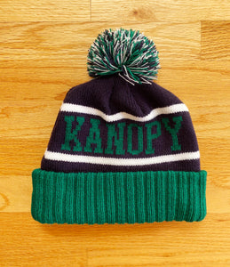 Black Kanopy cuff knit beanie with embroidered patch