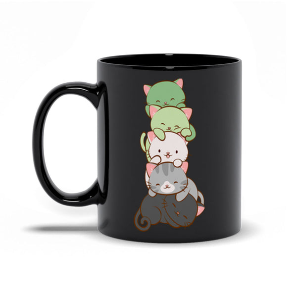 Aromantic Pride Cute Kawaii Cat Mug 11 oz / Black