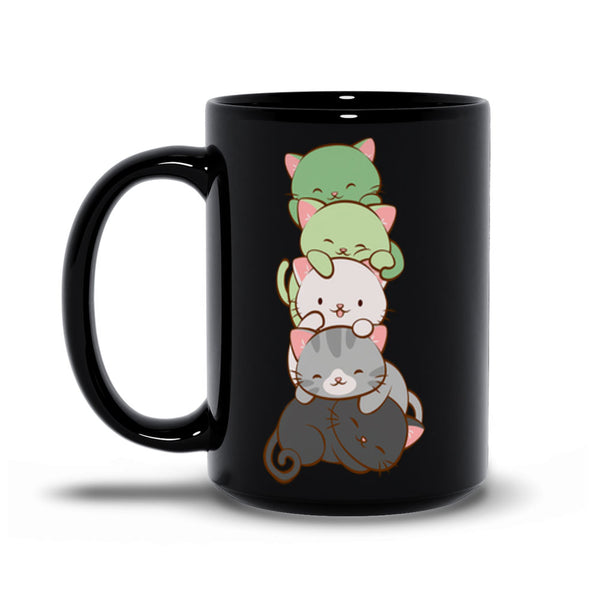 Aromantic Pride Cute Kawaii Cat Mug Black 15 oz