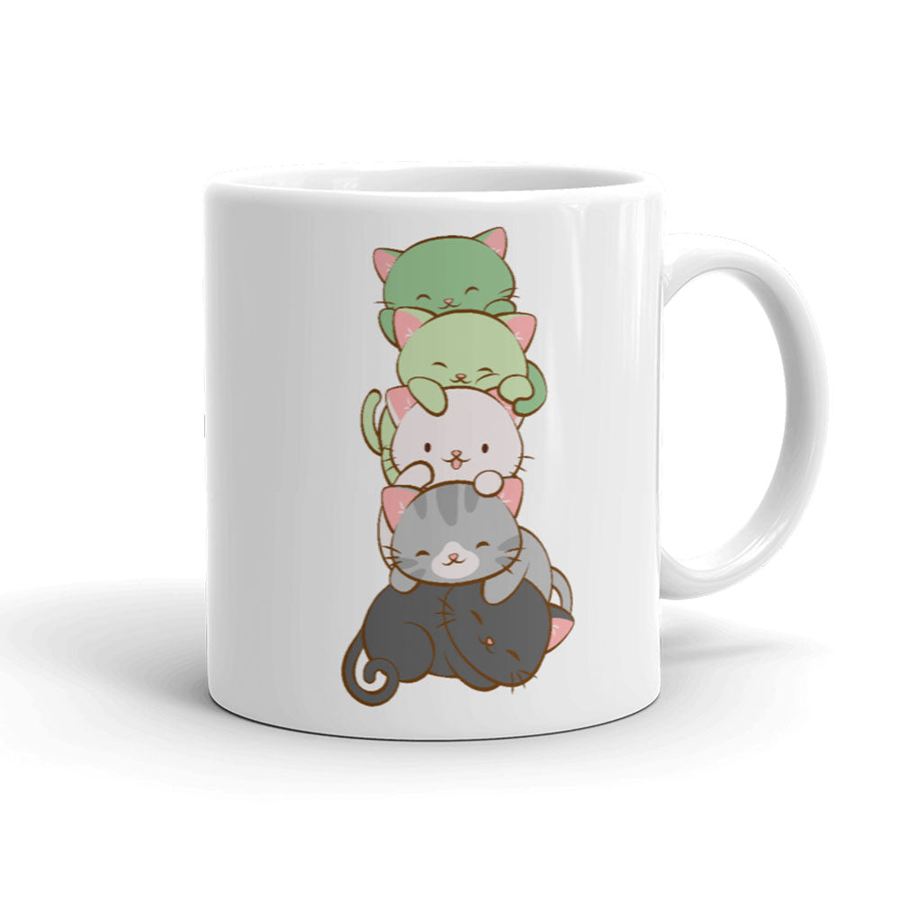 Aromantic Pride Cute Kawaii Cat Mug White 11 oz