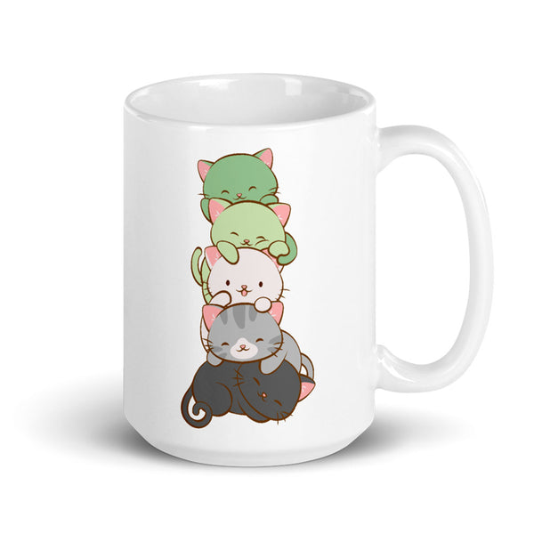 Aromantic Pride Cute Kawaii Cat Mug 15 oz / White