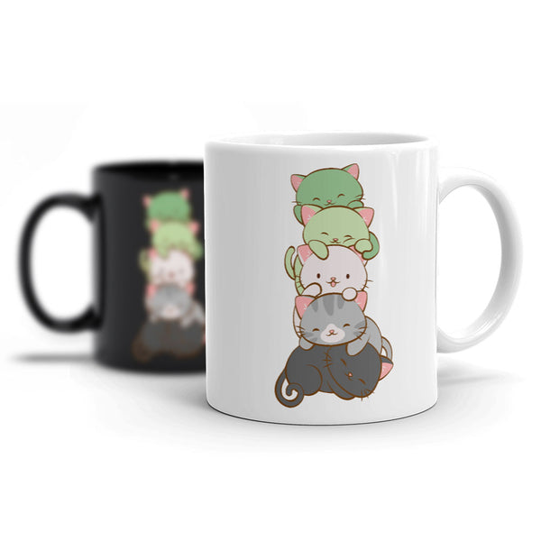 Aromantic Pride Cute Kawaii Cat Mug