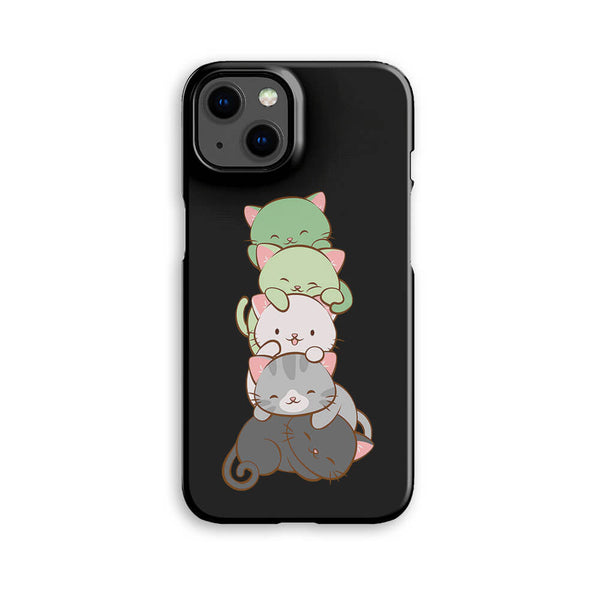 Aromantic Pride Kawaii Pride Cat Phone Case - Black