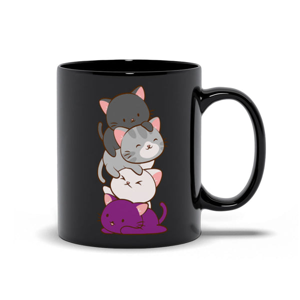 Asexual Pride Cute Kawaii Cat Mug black 11 oz