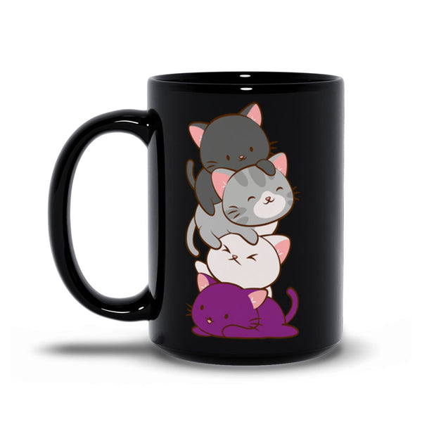 Asexual Pride Cute Kawaii Cat Mug 15 oz / Black
