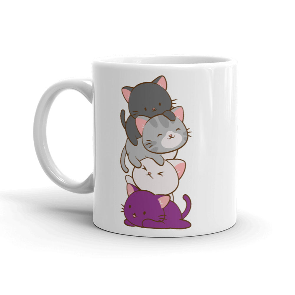 Asexual Pride Cute Kawaii Cat Mug White 11oz