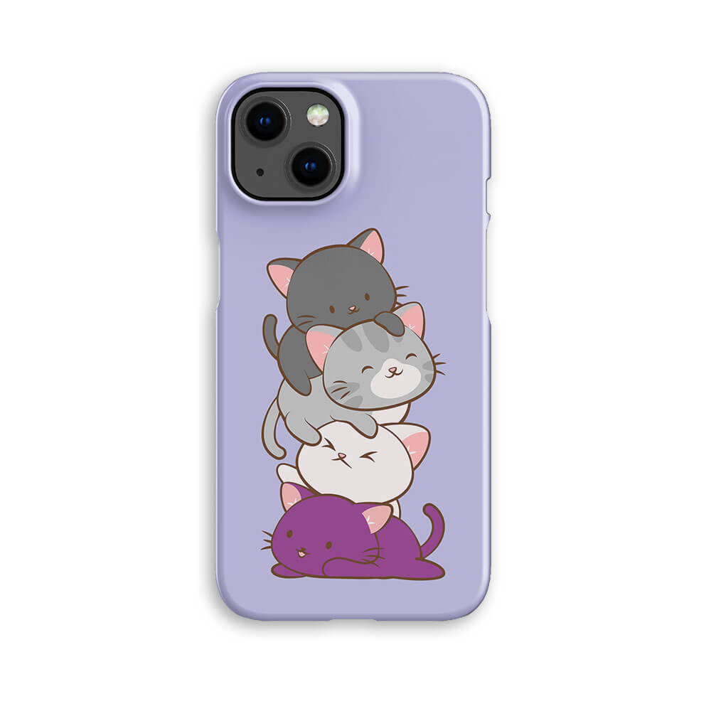Asexual Pride Kawaii Cat Phone Case - Purple